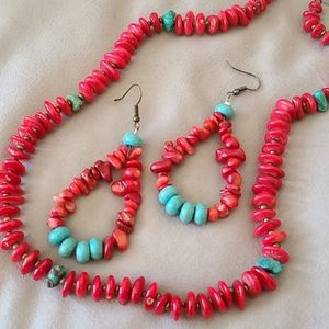 TURQUOISE/CORAL SET